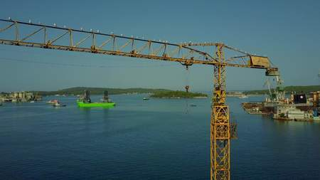 PULA, CROATIA - AUGUST 4, 2017. Aerial view of a tower crane at the seaport