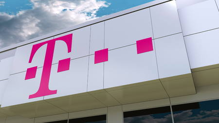 T-Mobile logo on the modern building facade. Editorial 3D rendering