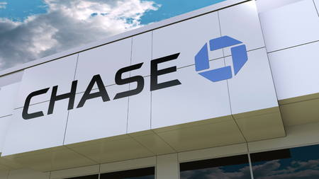 JPMorgan Chase Bank logo on the modern building facade. Editorial 3D rendering