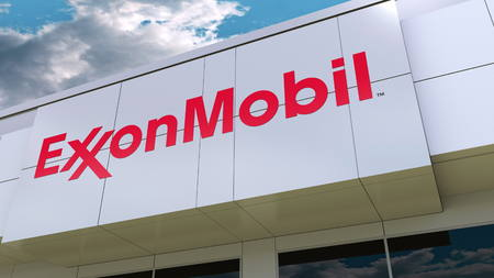 ExxonMobil logo on the modern building facade. Editorial 3D rendering 에디토리얼