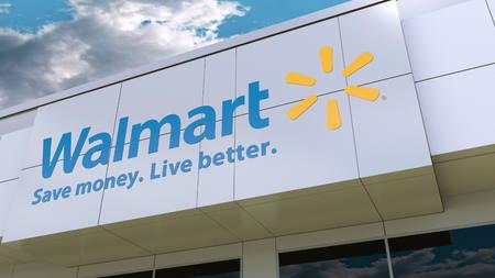 Walmart logo on the modern building facade. Editorial 3D rendering