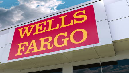 Wells Fargo logo on the modern building facade. Editorial 3D rendering