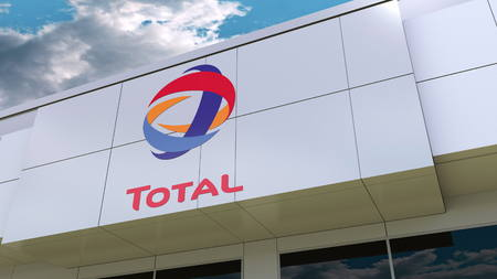 Total S.A. logo on the modern building facade. Editorial 3D rendering