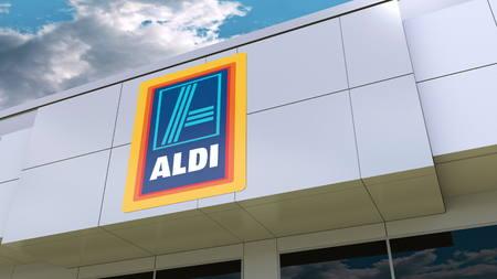 현대적인 건물 외관의 Aldi 로고. Editorial 3D rendering