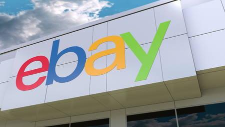 ebay: eBay Inc. logo on the modern building facade. Editorial 3D rendering Editorial