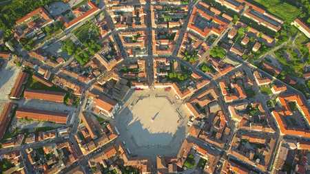 Establishing aerial view of star-shape town of Palmanova, Italy