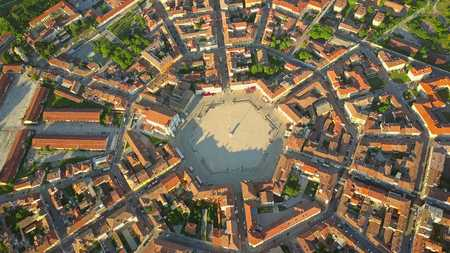 Aerial view of star-shape town of Palmanova, Italy