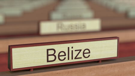 delegation: Belize name sign among different countries plaques at international organization. 3D rendering