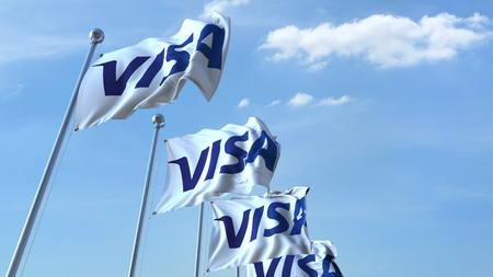Waving flags with Visa logo against sky, editorial 3D rendering