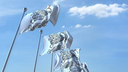 Nestle 로고가 하늘을 비추는 사설 3D 렌더링 에디토리얼