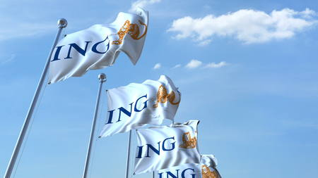 Waving flags with ING logo against sky, editorial 3D rendering