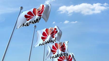 Waving flags with Huawei logo against sky, editorial 3D rendering