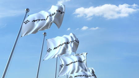 Waving flags with Mitsui logo against sky, editorial 3D rendering