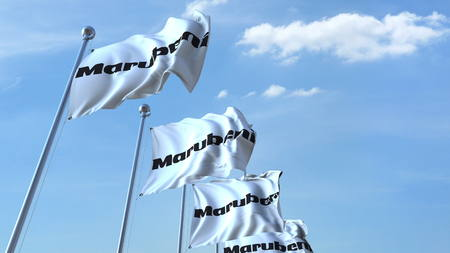 Waving flags with Marubeni logo against sky, editorial 3D rendering