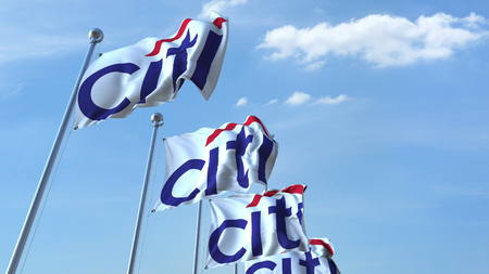 Waving flags with Citi logo against sky, editorial 3D rendering Editorial