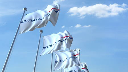 Waving flags with British Airways logo against sky, editorial 3D rendering