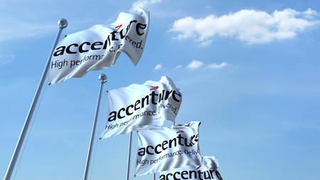 Waving flags with Accenture logo against sky, editorial 3D rendering Editorial