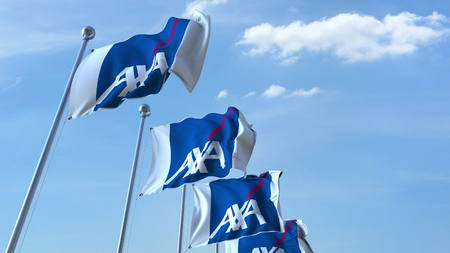 Waving flags with AXA logo against sky, editorial 3D rendering