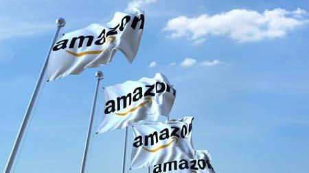 하늘, 광고 문안 3D 렌더링에 대 한 아마존 로고로 깃발을 흔들며 에디토리얼
