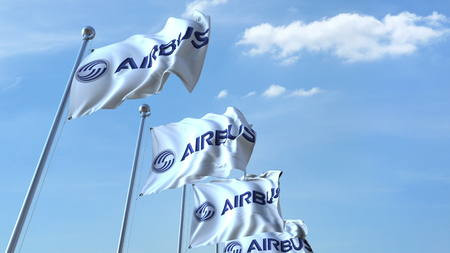 Waving flags with Airbus logo against sky, editorial 3D rendering