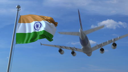 Commercial airplane landing behind waving Indian flag. Travel to India conceptual 3D rendering
