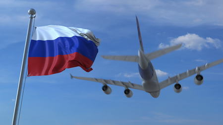 Commercial airplane landing behind waving Russian flag. Travel to Russia conceptual 3D rendering