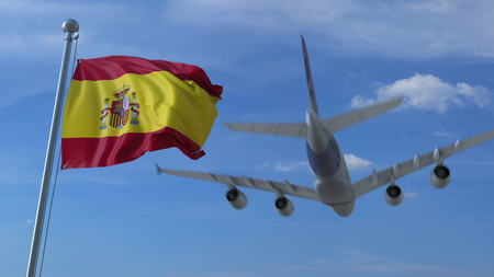 Commercial airplane landing behind waving Spanish flag. Travel to Spain conceptual 3D rendering