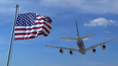 Commercial airplane landing behind waving American flag. Travel to the United States conceptual 3D rendering