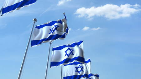 Row of waving flags of Israel agaist blue sky, 3D rendering