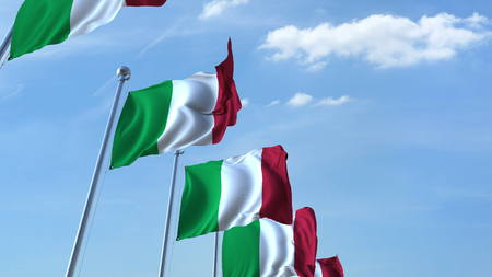 Row of waving flags of Italy agaist blue sky, 3D rendering