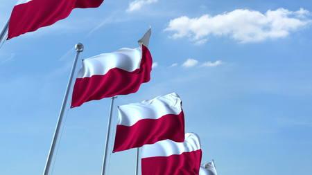 Row of waving flags of Poland agaist blue sky, 3D rendering Stock Photo