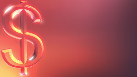 Glass dollar sign against red and orange background. 3D rendering Stock Photo