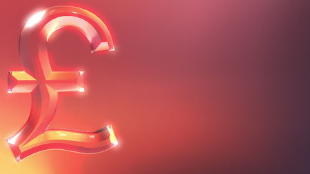 Glass pound sterling sign against red and orange background. 3D rendering