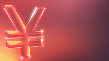 Glass Japanese yen sign against red and orange background. 3D rendering Stock Photo