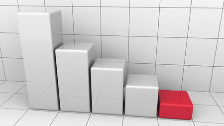 Abstract descending chart or bar graph. Business decline or crisis concepts 3D rendering