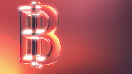 Glass bitcoin sign against red and orange background. 3D rendering Stock Photo