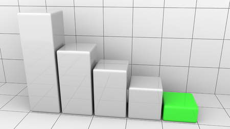 Abstract descending chart with green last bar. Business decline or crisis concepts. 3D rendering