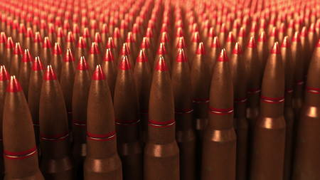 Big supply of shells or cartridges, 3D rendering. War, ammo, aggression concepts