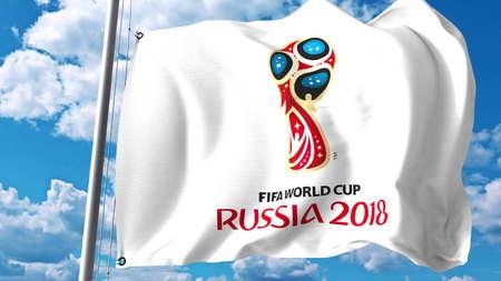 2018 と旗を振って空の背景に対してワールド カップのロゴ。編集 3 D レンダリング