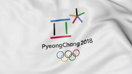 2018 동계 올림픽 로고 깃발을 흔들며. Editorial 3D rendering