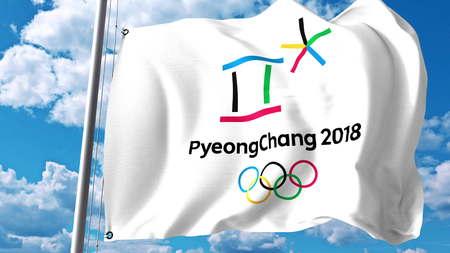 Golvende vlag met 2018 Olympische Winterspelen logo tegen wolken en lucht. Redactionele 3D-weergave