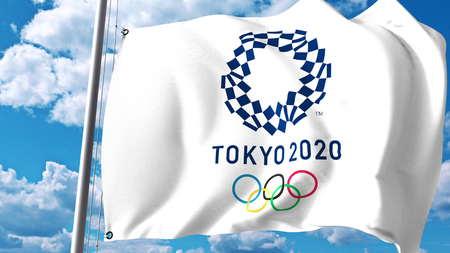 Ondeando la bandera con el logotipo de 2020 Juegos Olímpicos de verano contra las nubes y el cielo. Editorial Representación 3D Foto de archivo - 86513285