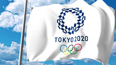 Wapperende vlag met 2020 Olympische Zomerspelen logo tegen wolken en lucht. Redactioneel 3D-rendering
