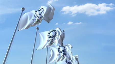 2020 하계 올림픽 로고가 새겨진 여러 깃발. Editorial 3D rendering 에디토리얼