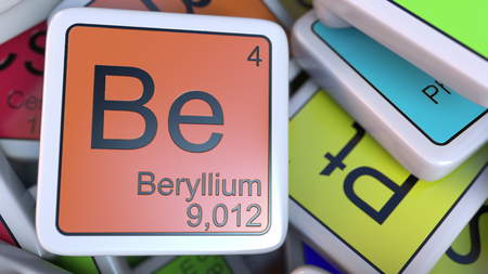 Beryllium block on the pile of periodic table of the chemical elements blocks. Chemistry related 3D rendering