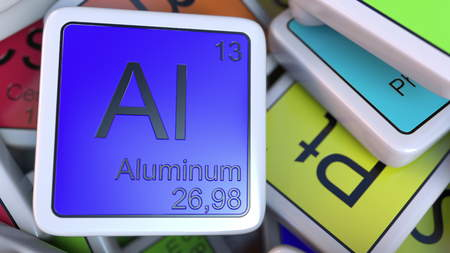 Aluminum block on the pile of periodic table of the chemical elements blocks. Chemistry related 3D rendering