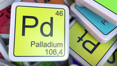 Palladium Pd block on the pile of periodic table of the chemical elements blocks. Chemistry related 3D rendering