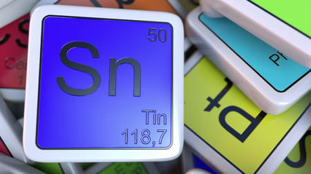 tin: Tin Sn block on the pile of periodic table of the chemical elements blocks. Chemistry related 3D rendering Stock Photo