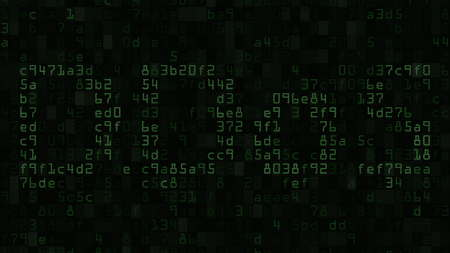 numeric: DDoS on the screen made of text and numeric symbols