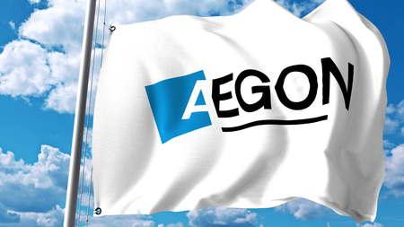 구름과 하늘에 대 한 Aegon NV 로고로 깃발을 흔들며. Editorial 3D rendering
